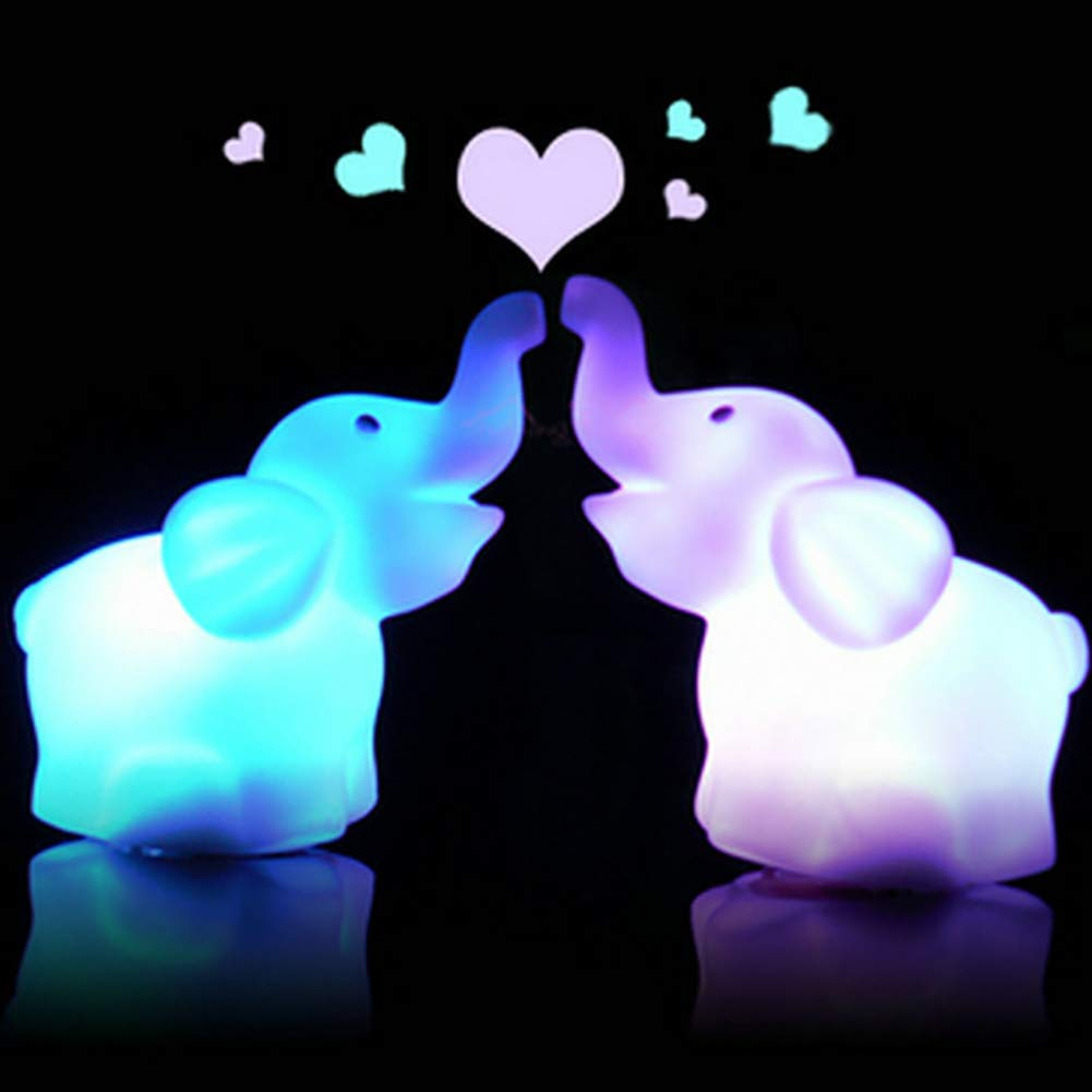 Potato001 Cute Elephant Shaped LED 7 Color Changing Lamp Night Bedroom Home Decor Gift - White