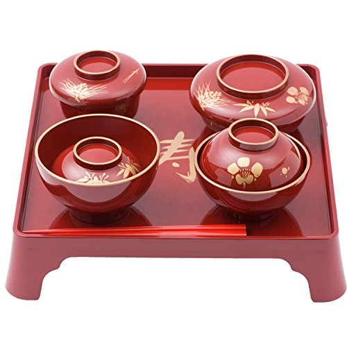 Japanese Dinnerware set for Okuizome(100th day baby's first meal celebration) 6 items for Boys [Red]
