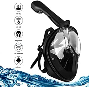 Ubesto Black Full Face Snorkel Mask for Seaview 180° GoPro Compatible, Panoramic Full Face Design Easy Breath Dry Top Set Anti Fog and Anti Leak Protection with Tubeless Design for Adults and Kids