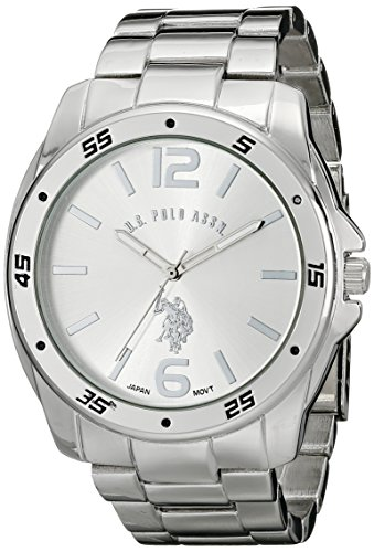 amazon com u s polo assn classic men s usc80223 silver tone amazon com u s polo assn classic men s usc80223 silver tone watch link bracelet watches