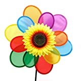 Cheap YDZN Sunflower Windmill Wind Spinner Rainbow Whirligig Wheel For Home Yard Decoration