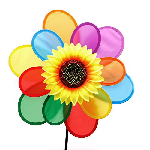 Why Choose YDZN Sunflower Windmill Wind Spinner Rainbow Whirligig Wheel For Home Yard Decoration