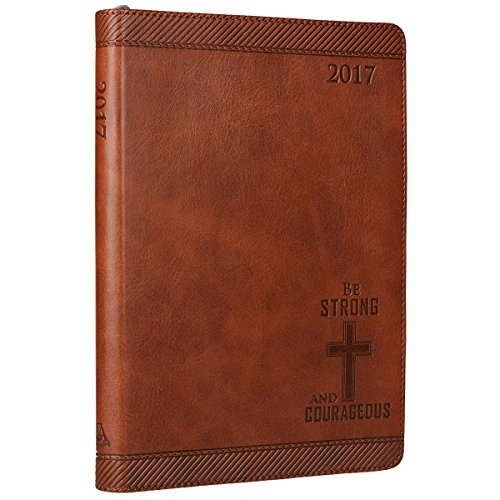 """2017 Saddle Tan """"Be Strong and Courageous"""" Faux Leather Zippered Inspirational Executive Planner - Joshua 1:9"""