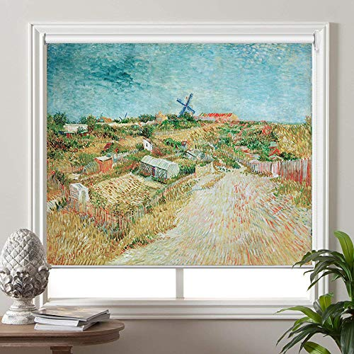 "PASSENGER PIGEON Blackout Window Shades, Vegetable Gardens in Montmartre, by Vincent Van Goah, Premium UV Protection Custom Roller Blinds, 34"" W x 64"" L from PASSENGER PIGEON"