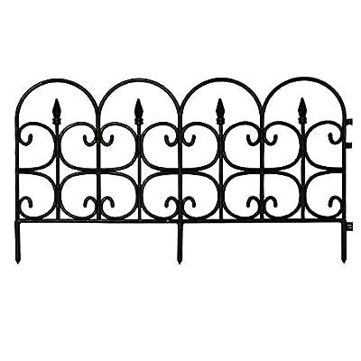 "16"" Victorian Fleur De Lis Black Medium Resin Garden Border Fence (12-Pack)"