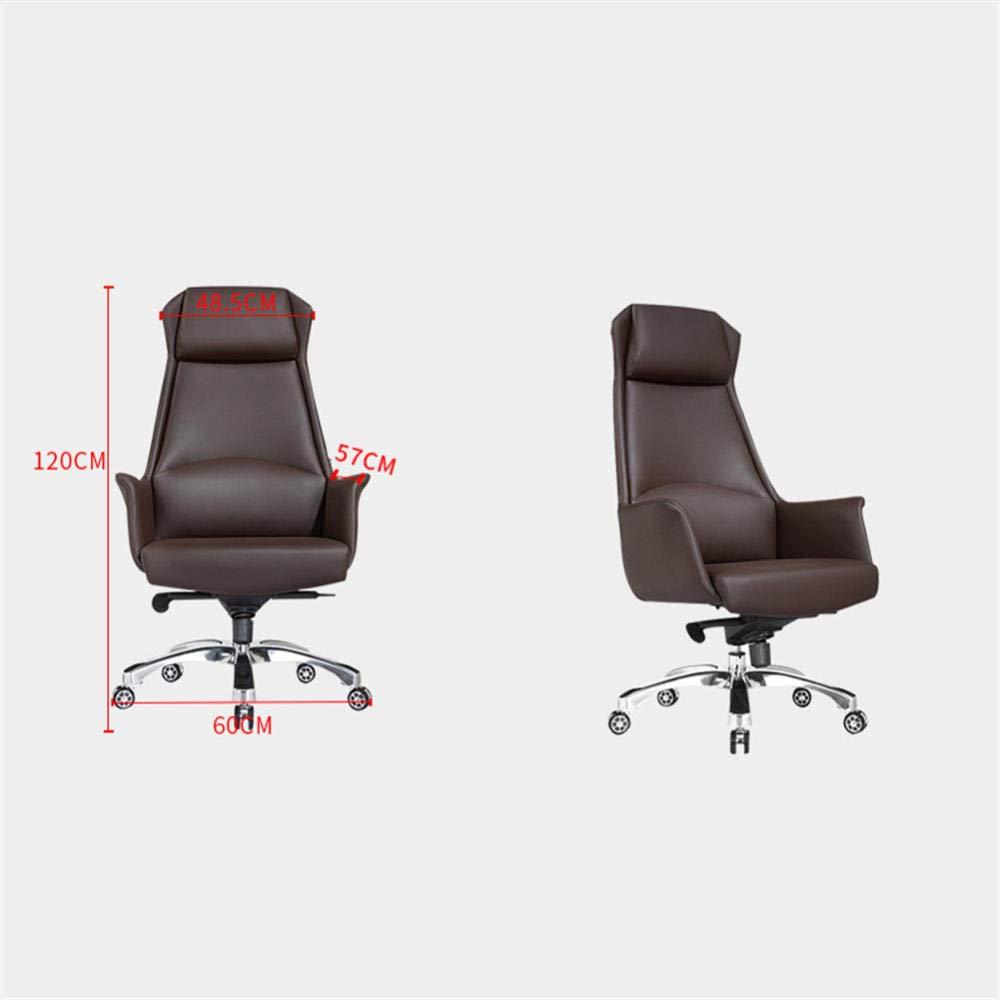 JIEER-C Skrivbordsstol ergonomisk avslappnande kontorsstol, korsryggsstöd verkställande läderstol hög rygg bekväm svängbar stol justerbar fåtölj-blå BLÅ