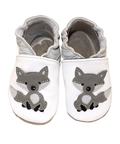 Leder Krabbelschuhe Motiv Wolf von BaBice, Schuhgröße:26/27 (30-36 Monate)