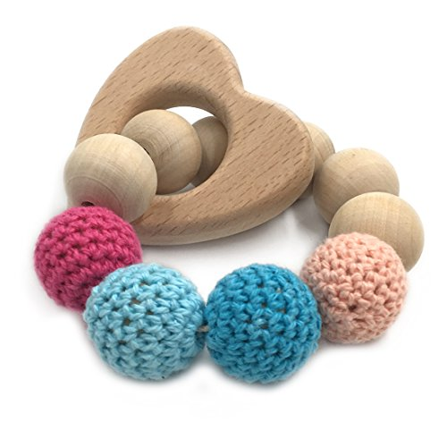 (Amyster Crochet Bead Teething Ring Set Untreated Maple Teether with Organic Wood Toy Wood Bracelet Baby Mom Kids Wooden Teether Bangle (Love-Heart))