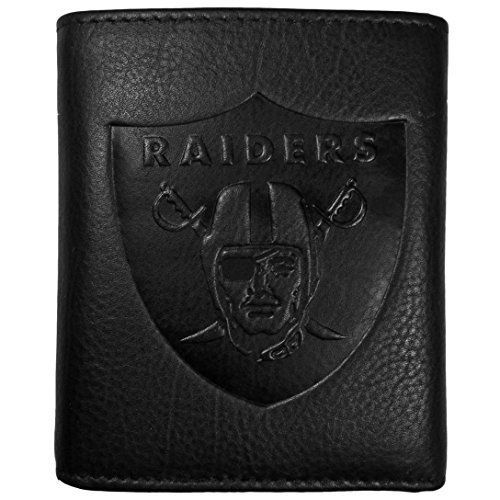 Siskiyou NFL Oakland Raiders Embossed Black Tri-fold Leather Wallet