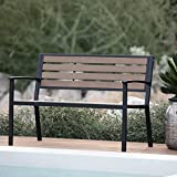 Outdoor Dennison All Weather Resin Black/Brown Wood and Metal Garden Bench 47W x 17D x 16H in.