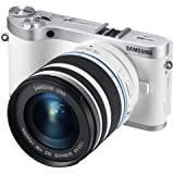 """Samsung NX300 20.3MP CMOS Smart WiFi Mirrorless Digital Camera with 18-55mm Lens and 3.3"""" AMOLED Touch Screen (White)"""