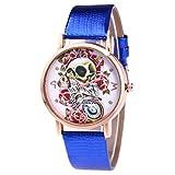Women Quartz Watch,Hosamtel Lady Leather Band Sugar Skull Floral Analog Watch A63 (Blue)