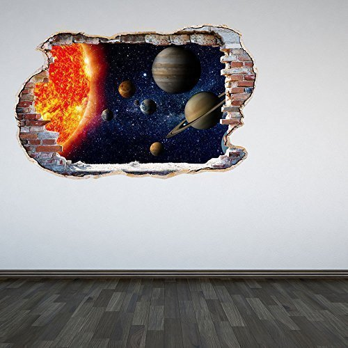 60 Second Makeover Limited Full Colour Solar System Smashed Wall 3D Effect Outer Space Galaxy Bedroom Wall Sticker Decal Kids Bedroom Decoration Large