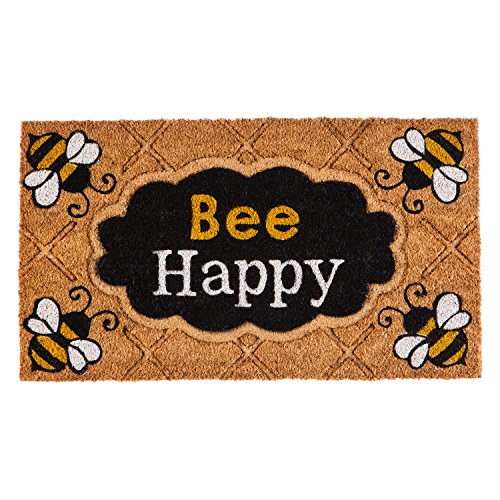 Evergreen Flag 2RM383 Bee Happy Coir Mat, Multi-Colored