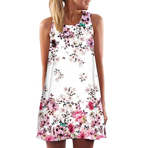 Petite Stitch - KMG Kimloog Women's O-Neck Boho Sleeveless Summer Beach Sundress Floral Printed Casual T-Shirt Short Mini Dress (L, A)