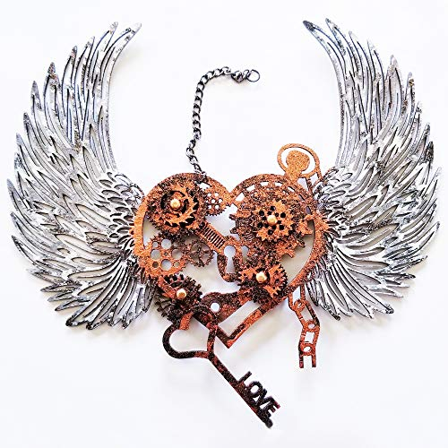 Creative Embellishments Hand Painted Steampunk Heart with Wings Laser Cut Chipboard - 1 Piece Set - Copper ()