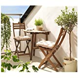 Table de balcon pour 2 personnes Durable et solide Marron teinté en acacia massif 70cm x 44cm x 71cm
