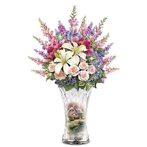 Thomas Kinkade Everett Cottage Illuminated Floral Centerpiece in Crystal Vase by The Bradford Exchange