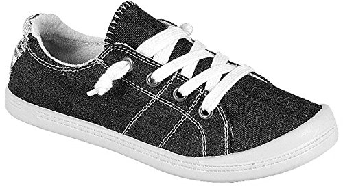 Forever Link Women's Classic Slip-On Comfort -01 black Fashion Sneaker (9) by Forever Link (Image #2)