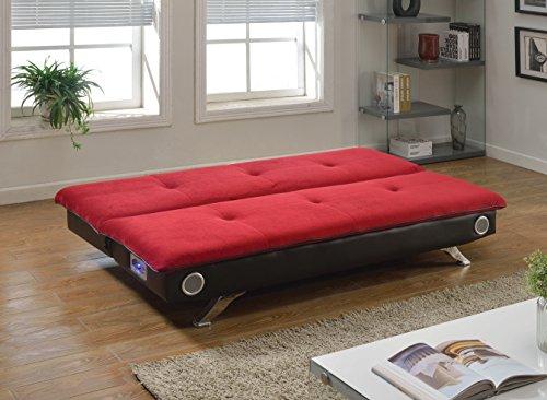 ACME Furniture 57186 Lostore Adjustable Sofa with Speakers, Red Champion/Espresso