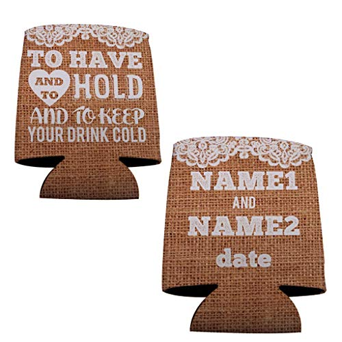 VictoryStore Can and Beverage Coolers: Custom Rustic To Have And To Hold Wedding Can Coolers - 50pc (Wedding Koozies To Have And To Hold)