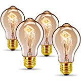 Vintage Edison Bulbs 40W/110V E26 E27 Base A19 Dimmable Antique Style Incandescent Warm White Tungsten Filament Bulb for Home, Restaurant, Coffee Shop, Hotel, Clothing Store Decoration