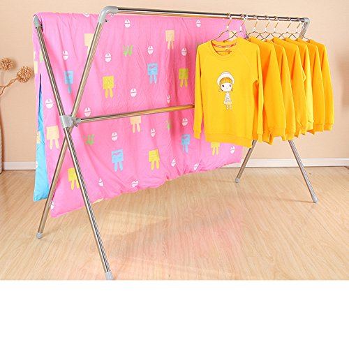 Folding stainless steel drying rack,Floor double rod drying