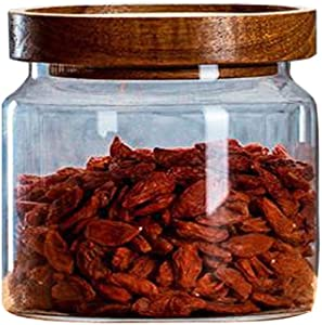 XINGZI Clear Glass Canister Food Storage Container Jar With Airtight Wood Lidsfor Coffee Beans Loose Leaf Tea Containers Sugar Cookies Dry Fruit Nuts Candy Jars (250ML/8.5oz)
