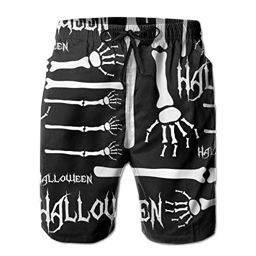 Feimao Halloween Arm Bone Skeleton Men's Beach Shorts Summer Casual Swimming Trunks with Pockets White]()