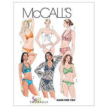 Amazon.com: McCall\'s Patterns M5400 Misses\' Two- Piece Bathing Suit ...