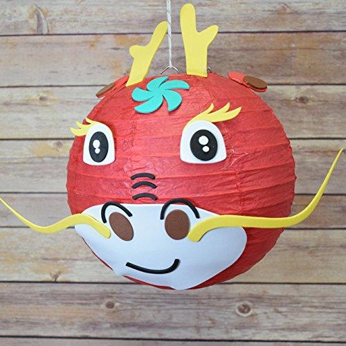 PaperLanternStore.com Kid Craft Project Paper Lantern Animal Face DIY Kit – Dragon
