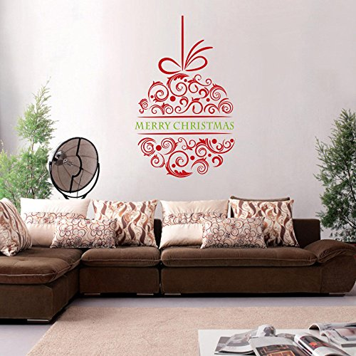OWMEOT Christmas Snowflake Window Clings Decorations – White Baubles/Bells/Trees – Xmas Stickers Decals Ornaments