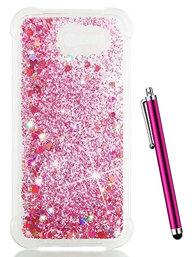 (CAIYUNL Glitter Case for Galaxy J7 V / J7 Perx / J7 2017 / J7 Sky Pro/ J7 Prime/Samsung Galaxy Halo Clear Bling Cute Liquid Silicone Slim TPU Shockproof Cover Protective Thin Phone Cases Bumper-Pink)