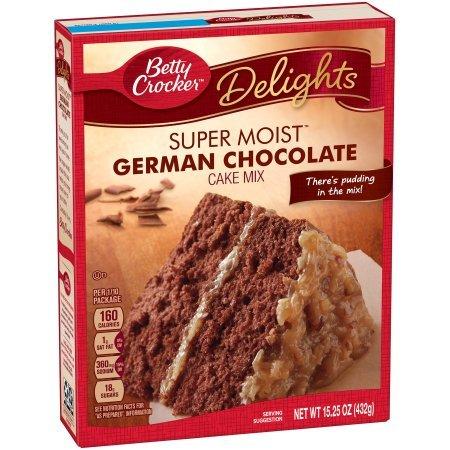 Betty Crocker Super Moist Cake Mix German Chocolate 15.25 oz Box (Pack of 2)