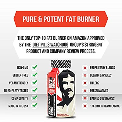 VINTAGE BURN - The World's First Muscle-Preserving Fat Burner - Garcinia Cambogia, Raspberry Ketones, Green Coffee & 6 More Fat Burning Ingredients - 120 Natural Veggie Caps