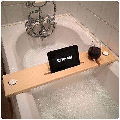 Wooden Bath Board / Bath Caddy / Bath Tray with Wine and Tablet ...