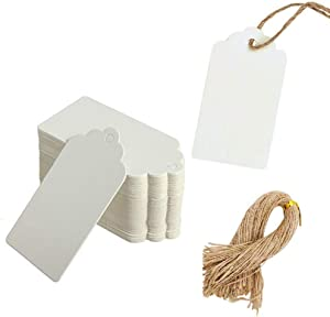 Paper Tags Gift Hang Tags with String 200pcs White