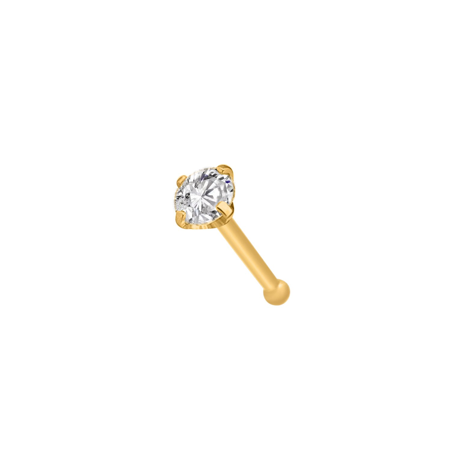 OMEGA JEWELLERY 14K Gold Plated Sterling Silver Round Sim. Diamond Nose Bone stud Pin For Women (3 mm) (yellow-gold-plated-silver)