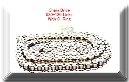 Chrome Plated Chain - 530-120 Links (With O-Ring) Drive Chain Chrome Plated 530 120 ATV Motorcycle 530 Pitch 120 Links Harley Sportster Dyna Suzuki GSXR 1000 GSX-R750