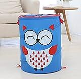 Ao blare 34x46CM owl Animal laundry toy bucket Children's Toys Basket Storage Bucket Folding Cylinder Laundry Basket Toy Box Organizer Storage Bag (Blue)