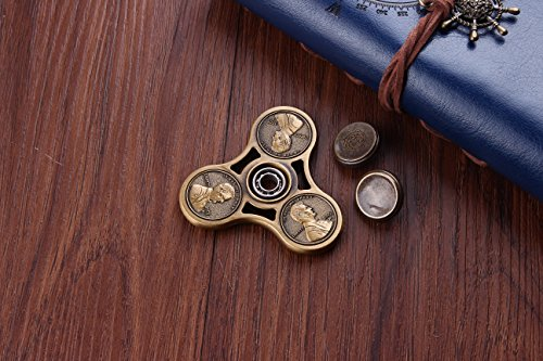 PleToy Spinner Fidget Toy Metal Triangle Hand Spinner – Spin 3-7 Minutes – Premium High Speed Ceramic Bearing – Stainless Steel Metal Frame – for Calm Focus ADHD Autism – Kids Adult (Penny)