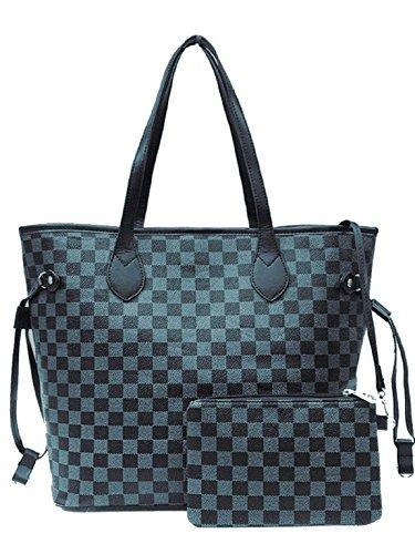 Gossip Girl - Designer Inspired 2-in-1 Check Handbag Shoulder Bag With Purse + Lip Balm & Mini Emery Board Set Large - Check - Black