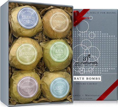 Art Naturals Badebomben Geschenkset - 6 Luxuriöse handgemachte Badekugeln aus ätherischen Ölen - Badesprudeltabletten - Organische & natürliche Inhaltsstoffe & Shea Butter für trockene Haut - Entspannung in der Box - Beste Geschenk-Idee
