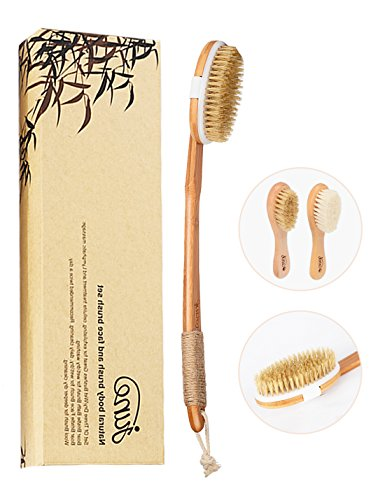 Natural Boar Bristle Body Brush and Soft Wool and Boar Bristle Face Brush Set for Wet / Dry Bath Brushing Shower, Washing, Excellent for Skin Exfoliating, Cellulite Treatment and Lymphatic Massage.