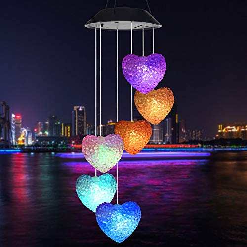 Wind Chime,solar wind chimes outdoor,solar Heart/hummingbird wind chime Outdoor decor,yard decorations solar light mobile,memorial wind chimes,mobile led(gifts for mom,birthday gifts for ()