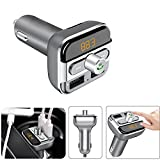 Wireless In-Car Bluetooth FM Transmitter LinkStyle Wireless Car Radio Adapter Car Kit, Dual USB Car Charger with Hands-Free Calling & MP3 Player [Support TF Card/USB Driver] for iPhone iPad Samsung