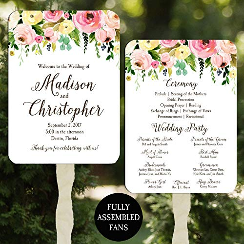 Wedding Program Fans Floral Bouquet 100 Count -