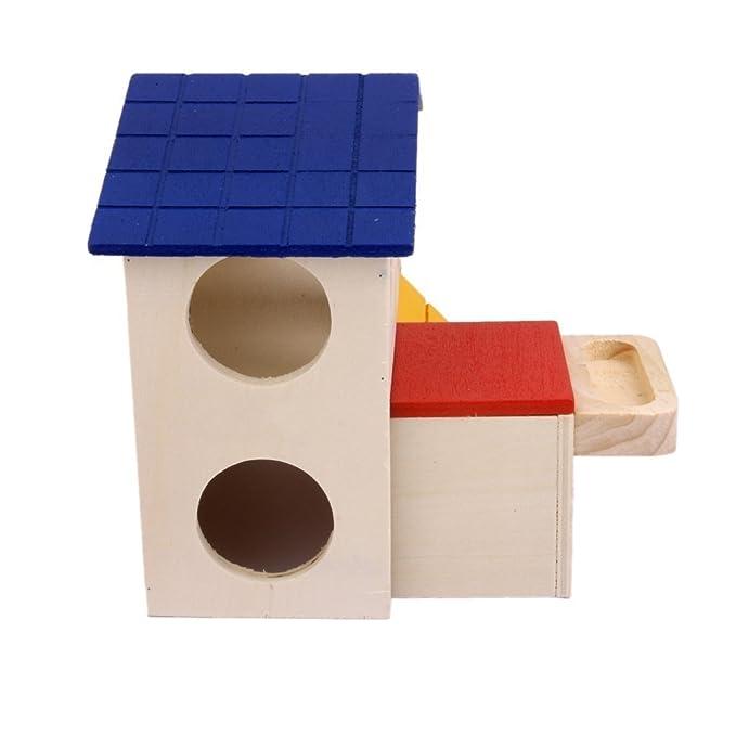 Visork Mascotas suministros hámster ratón gerbil madera casa jaula ...