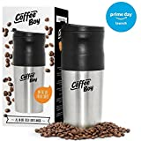 Coffee Boy All-in-One Portable Coffee Maker by Equinox, with Rechargeable Electric Ceramic Coffee Grinder, 14oz Coffee Travel Mug, and Pour Over Coffee Espresso Dripper - Great for the Office or Camping