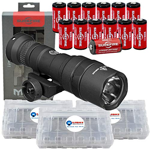 (SureFire M300 Ultra Compact Mini Scout LED WeaponLight 500 Lumens with 12x Extra CR123A Batteries and 3 Battery Cases)